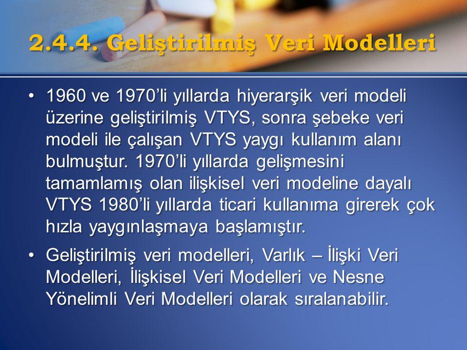 2.4.4. Geliştirilmiş Veri Modelleri