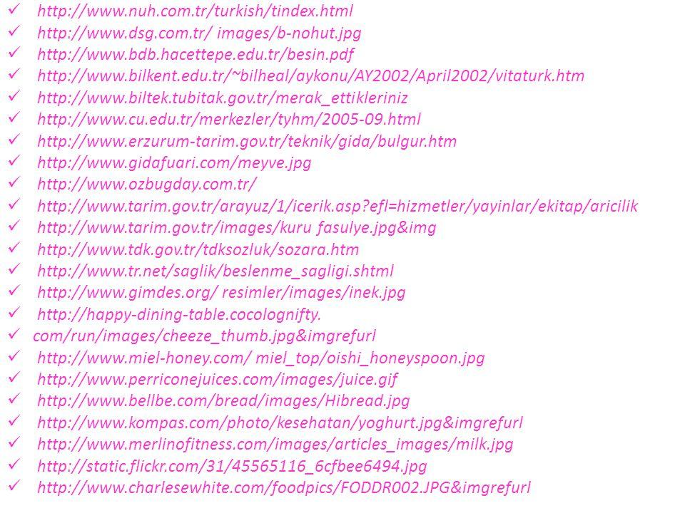 http://www.nuh.com.tr/turkish/tindex.html http://www.dsg.com.tr/ images/b-nohut.jpg. http://www.bdb.hacettepe.edu.tr/besin.pdf.