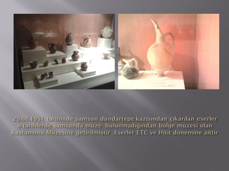 29.08.1951 tarihinde samsun dündartepe kazısından çıkarılan eserler o tarihlerde samsunda müze bulunmadığından bölge müzesi olan Kastamonu Müzesine getirilmiştir .Eserler ETC ve Hitit dönemine aittir .