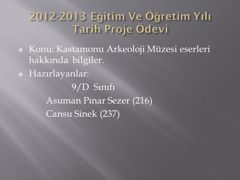 2012-2013 Eğitim Ve Öğretim Yılı Tarih Proje Ödevi