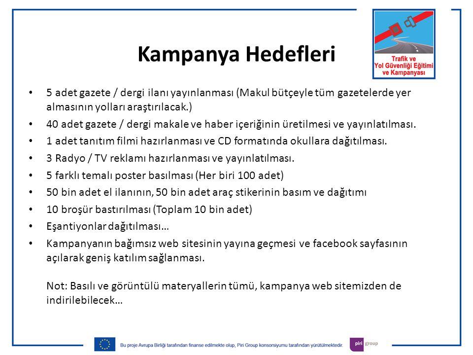 Kampanya Hedefleri 5 adet gazete / dergi ilanı yayınlanması (Makul bütçeyle tüm gazetelerde yer almasının yolları araştırılacak.)