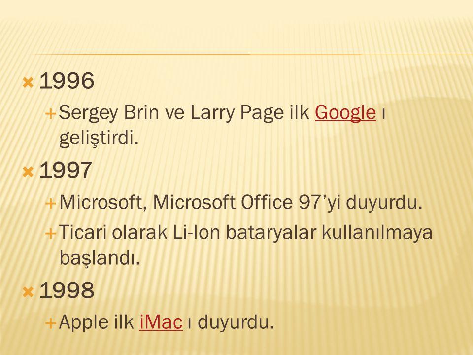 1996 1997 1998 Sergey Brin ve Larry Page ilk Google ı geliştirdi.