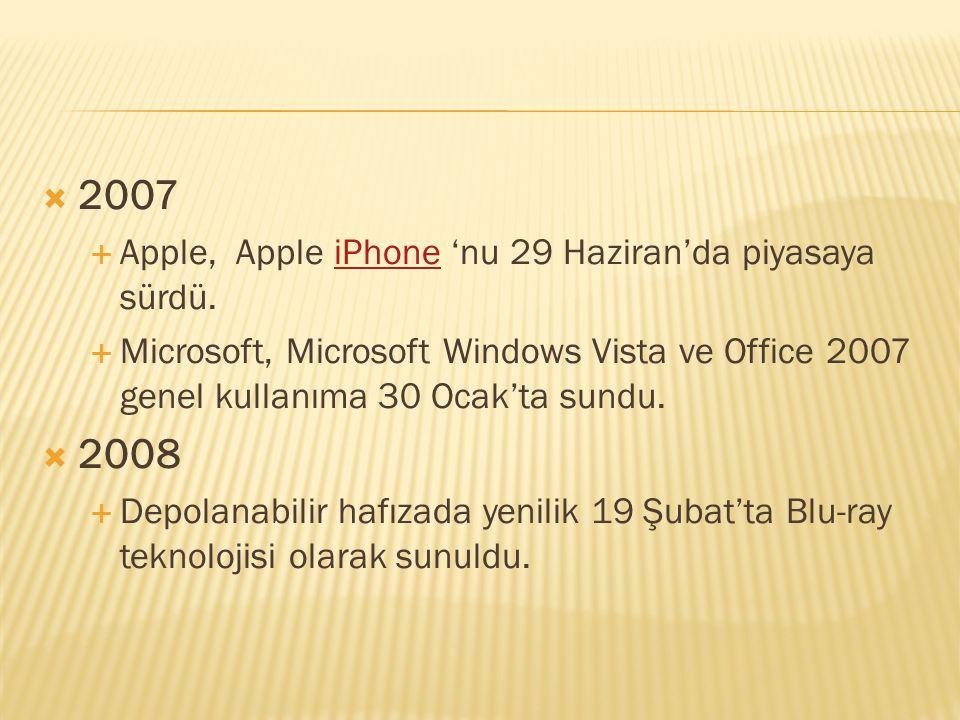 2007 2008 Apple, Apple iPhone 'nu 29 Haziran'da piyasaya sürdü.