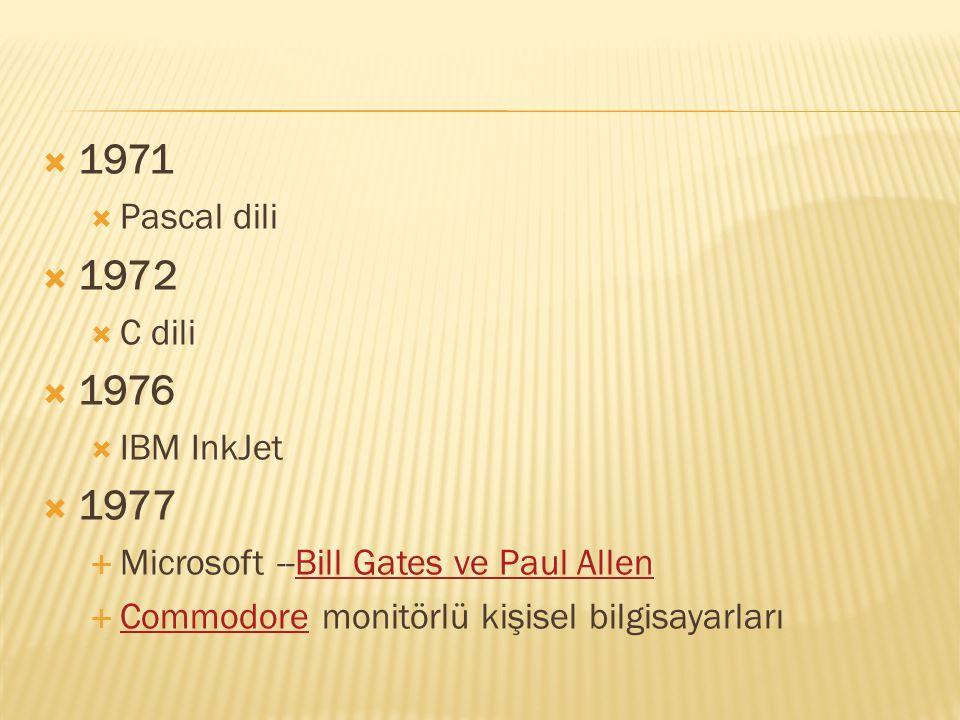1971 1972 1976 1977 Pascal dili C dili IBM InkJet