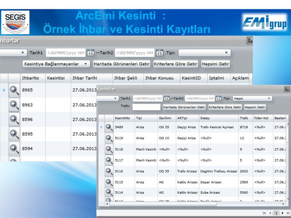 ArcEmi Kesinti : Örnek İhbar ve Kesinti Kayıtları