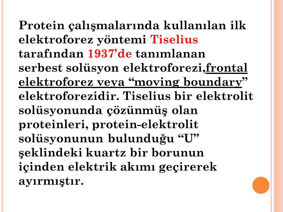 Protein çalışmalarında kullanılan ilk elektroforez yöntemi Tiselius tarafından 1937'de tanımlanan serbest solüsyon elektroforezi,frontal