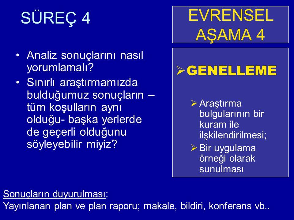 EVRENSEL AŞAMA 4 SÜREÇ 4 GENELLEME