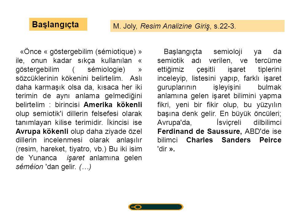 Başlangıçta M. Joly, Resim Analizine Giriş, s.22-3.