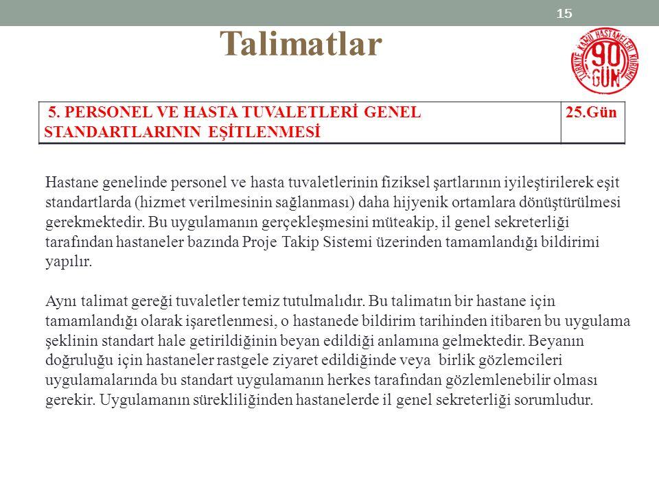 Talimatlar 5. PERSONEL VE HASTA TUVALETLERİ GENEL STANDARTLARININ EŞİTLENMESİ. 25.Gün.