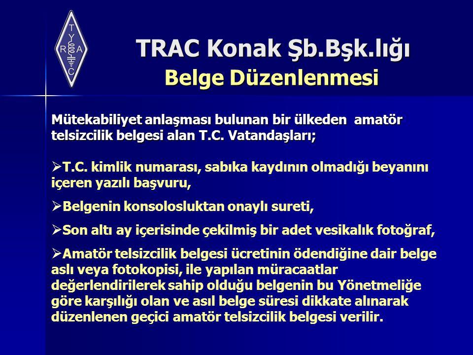 Belge Düzenlenmesi Mütekabiliyet anlaşması bulunan bir ülkeden amatör telsizcilik belgesi alan T.C. Vatandaşları;