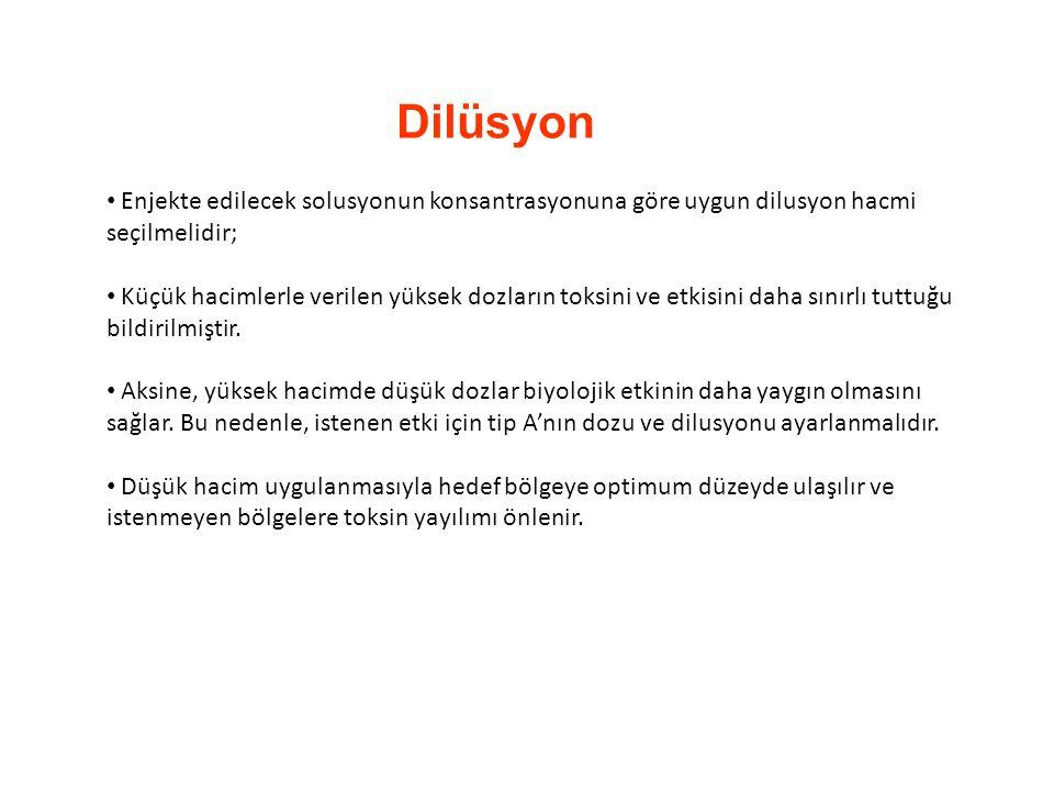 Dilüsyon Enjekte edilecek solusyonun konsantrasyonuna göre uygun dilusyon hacmi seçilmelidir;