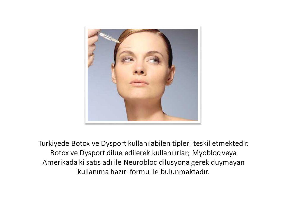 Turkiyede Botox ve Dysport kullanılabilen tipleri teskil etmektedir
