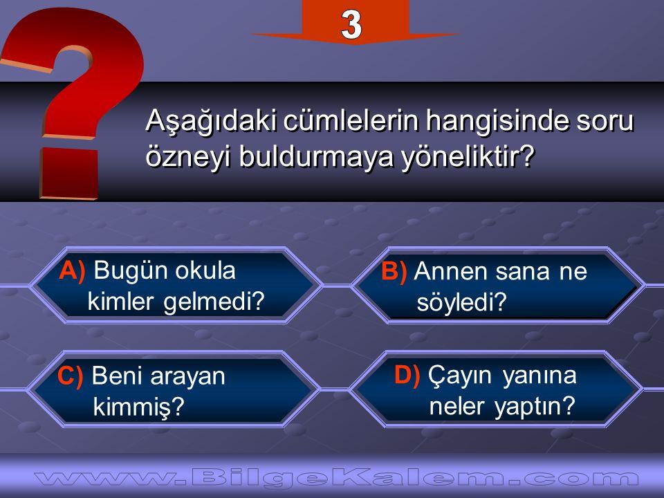 3 Aşağıdaki cümlelerin hangisinde soru. özneyi buldurmaya yöneliktir
