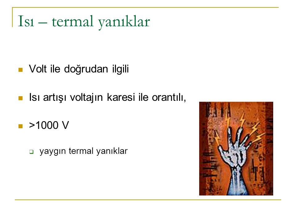 Isı – termal yanıklar Volt ile doğrudan ilgili