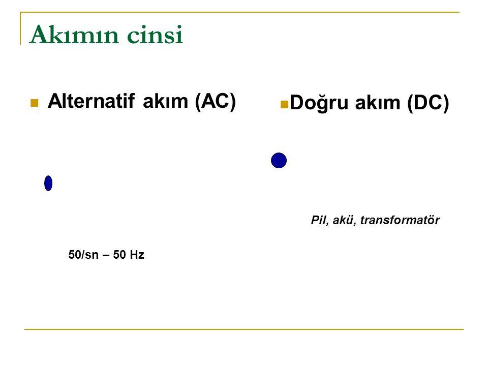 Akımın cinsi Alternatif akım (AC) Doğru akım (DC)