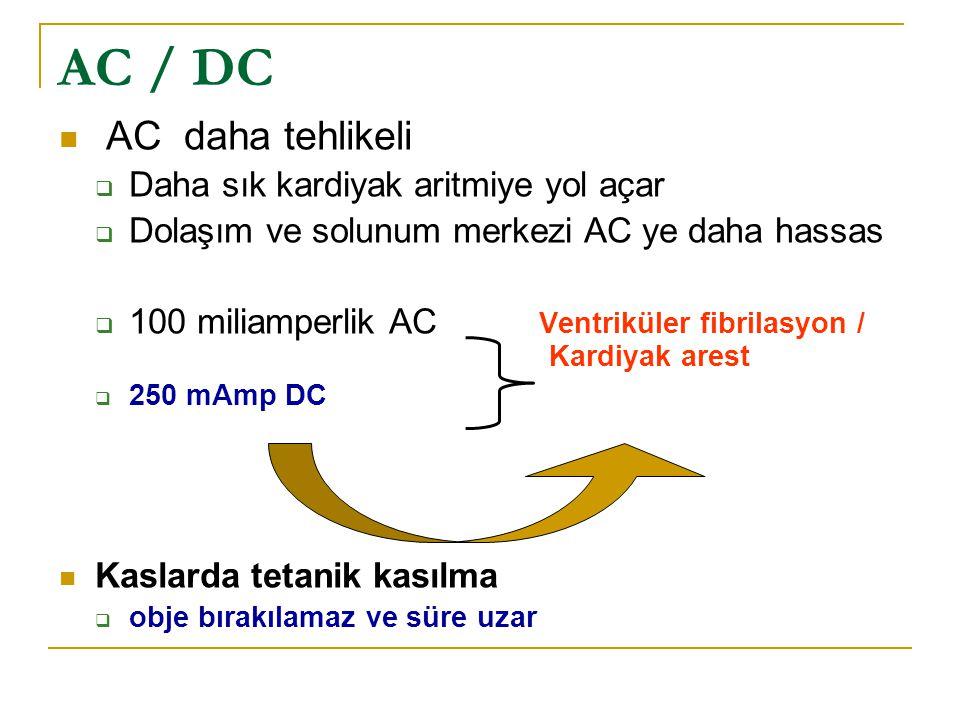 AC / DC AC daha tehlikeli Daha sık kardiyak aritmiye yol açar