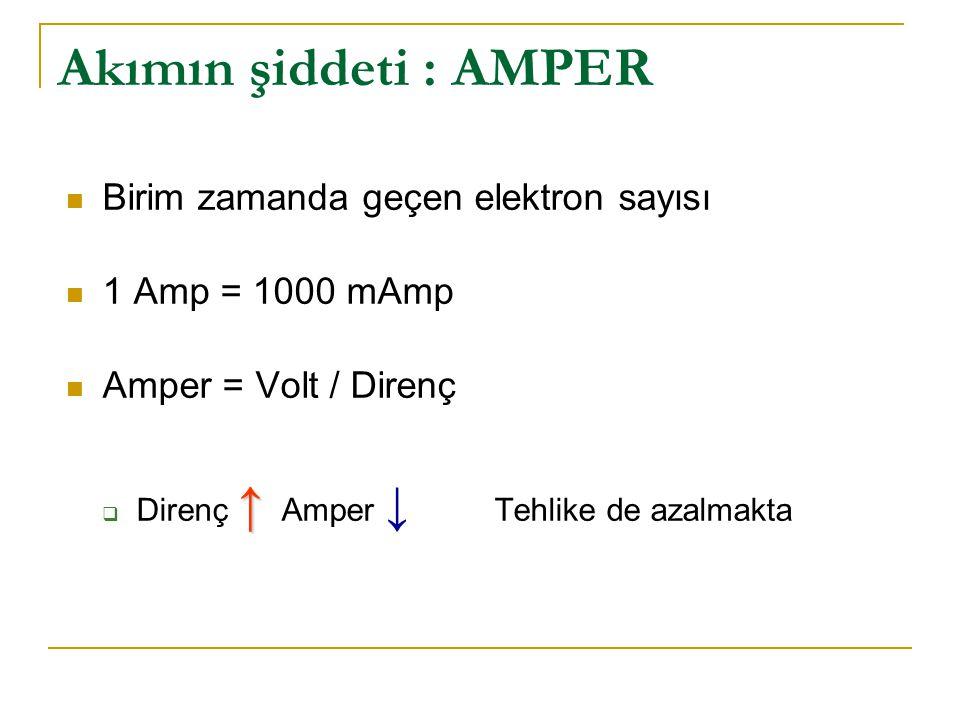 Akımın şiddeti : AMPER Birim zamanda geçen elektron sayısı