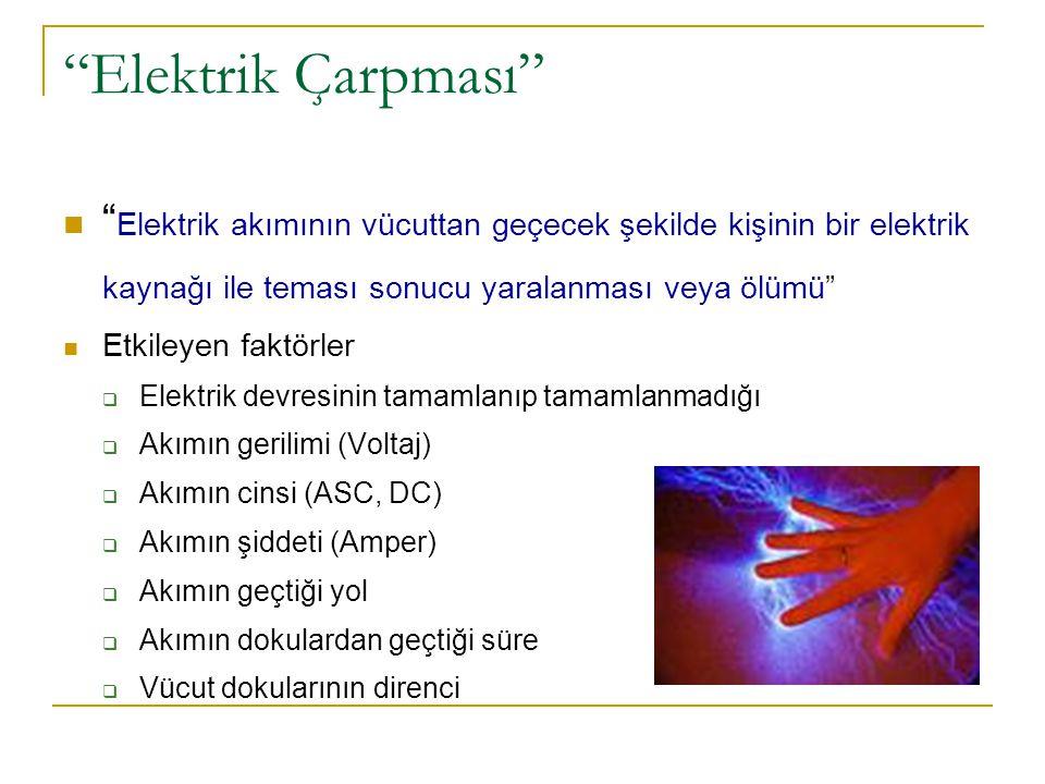 Elektrik Çarpması Elektrik akımının vücuttan geçecek şekilde kişinin bir elektrik kaynağı ile teması sonucu yaralanması veya ölümü