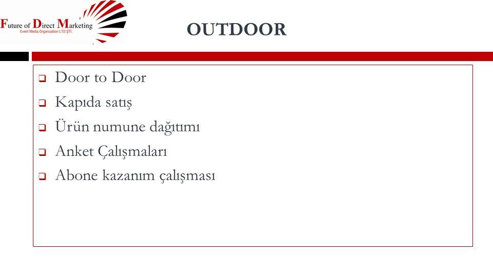 OUTDOOR Door to Door Kapıda satış Ürün numune dağıtımı