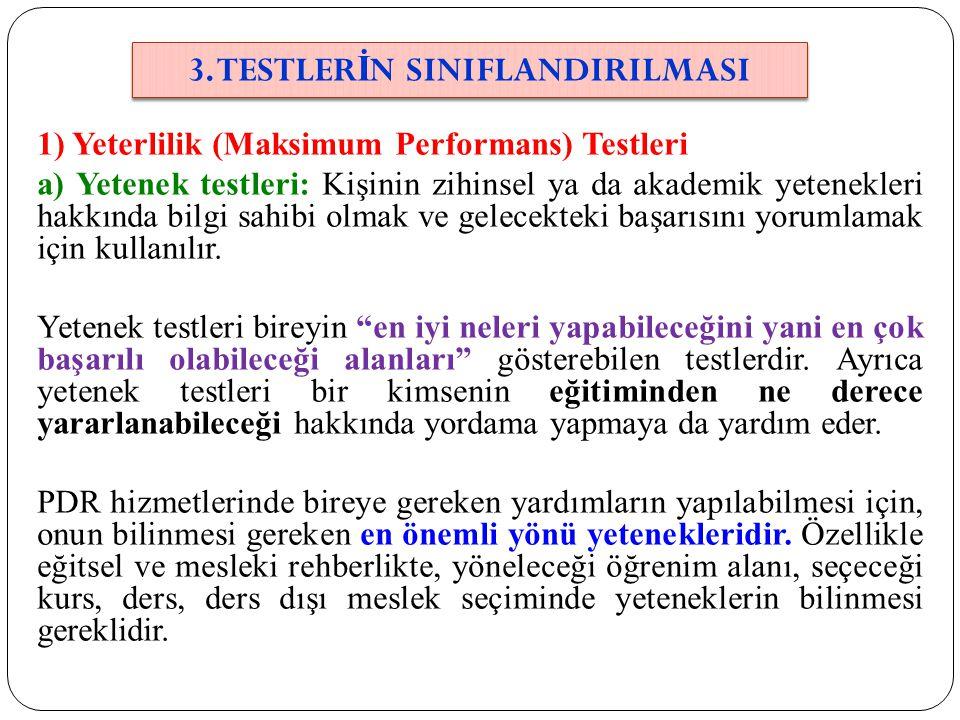 3. TESTLERİN SINIFLANDIRILMASI