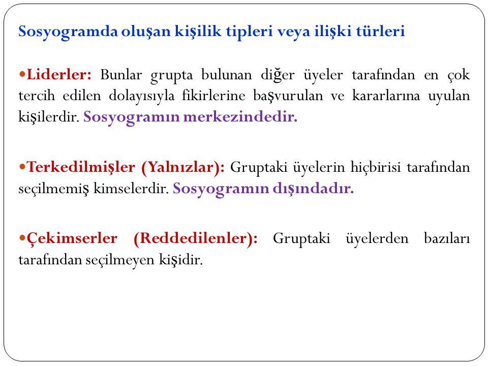 Sosyogramda oluşan kişilik tipleri veya ilişki türleri