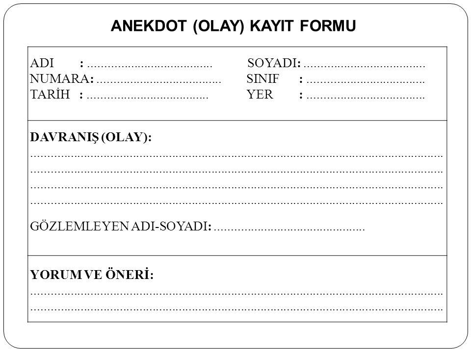 ANEKDOT (OLAY) KAYIT FORMU