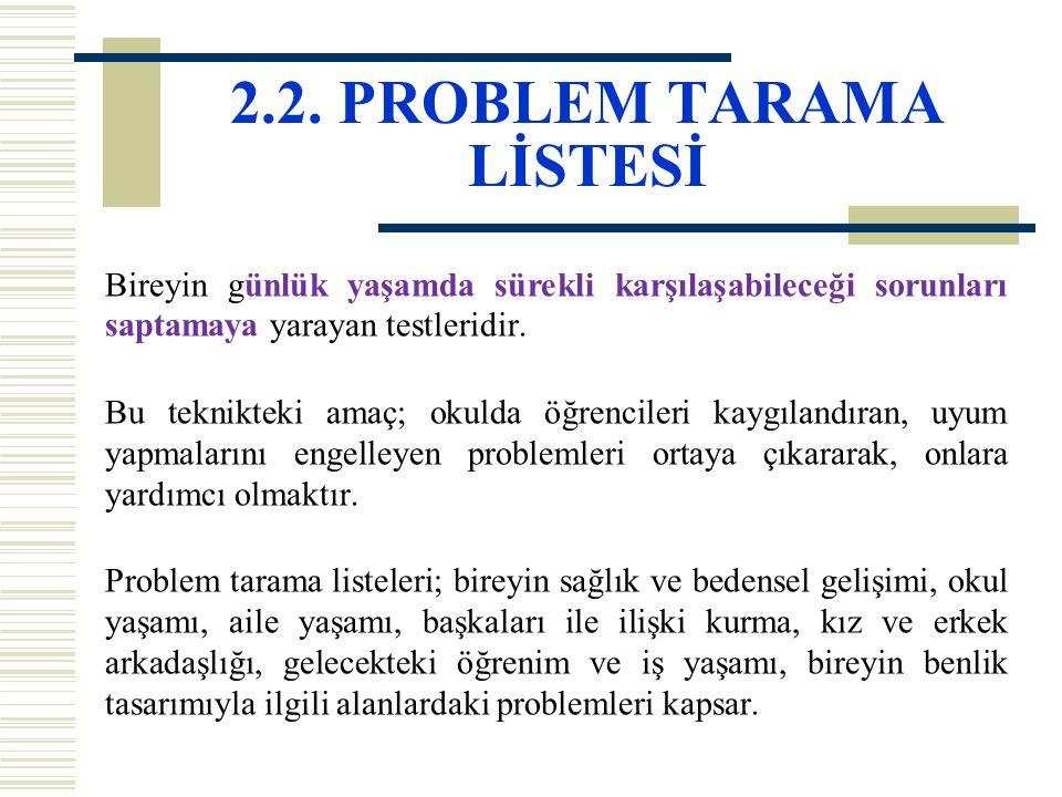 2.2. PROBLEM TARAMA LİSTESİ