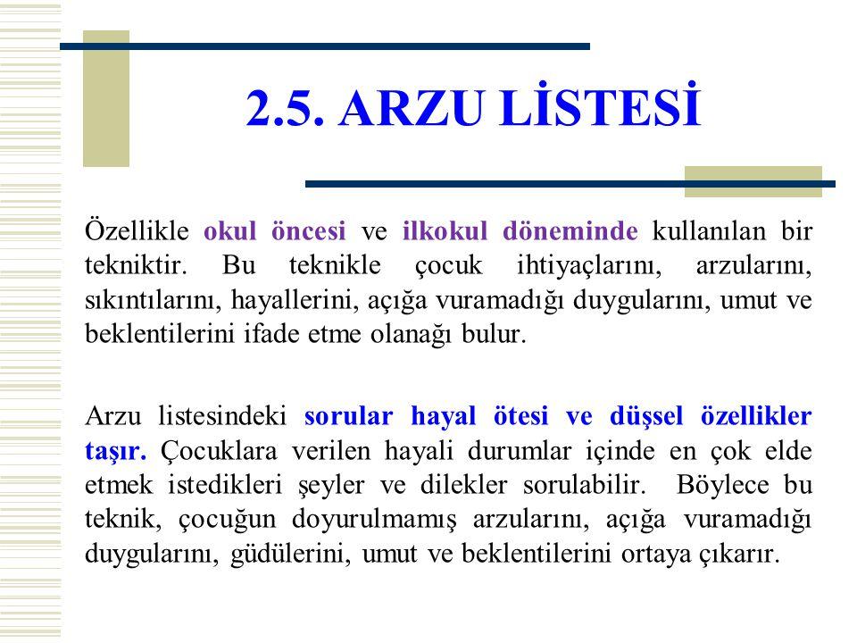 2.5. ARZU LİSTESİ