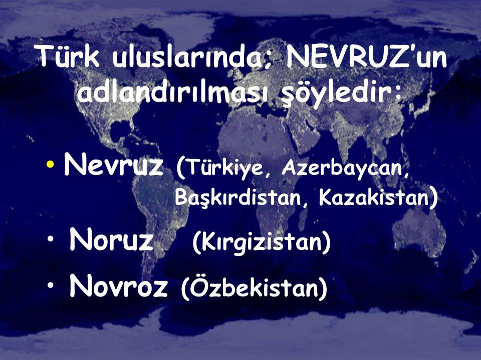 Türk uluslarında; NEVRUZ'un adlandırılması şöyledir: