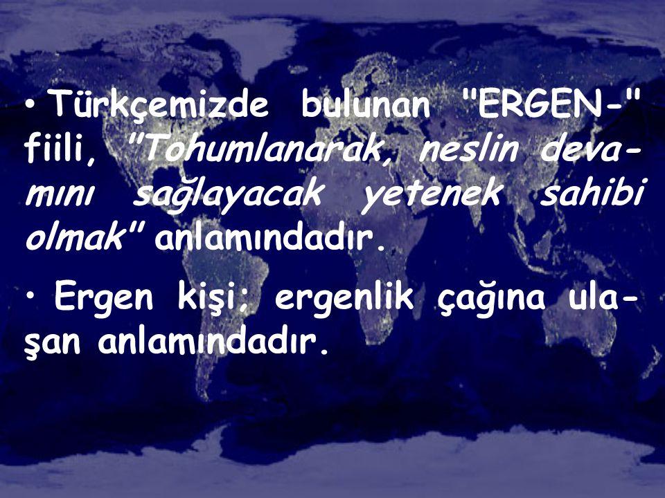Türkçemizde bulunan ERGEN- fiili, Tohumlanarak, neslin deva-mını sağlayacak yetenek sahibi olmak anlamındadır.