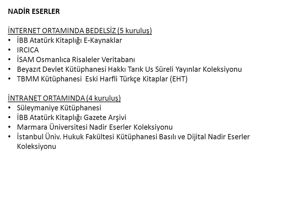 NADİR ESERLER İNTERNET ORTAMINDA BEDELSİZ (5 kuruluş) İBB Atatürk Kitaplığı E-Kaynaklar. IRCICA. İSAM Osmanlıca Risaleler Veritabanı.