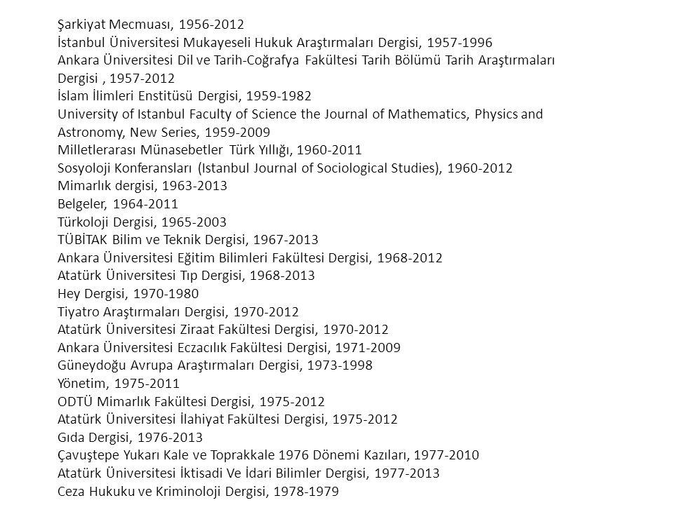 Şarkiyat Mecmuası, 1956-2012 İstanbul Üniversitesi Mukayeseli Hukuk Araştırmaları Dergisi, 1957-1996.