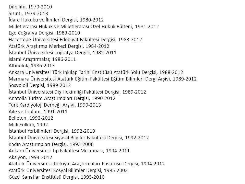 Dilbilim, 1979-2010 Sızıntı, 1979-2013. İdare Hukuku ve İlimleri Dergisi, 1980-2012.