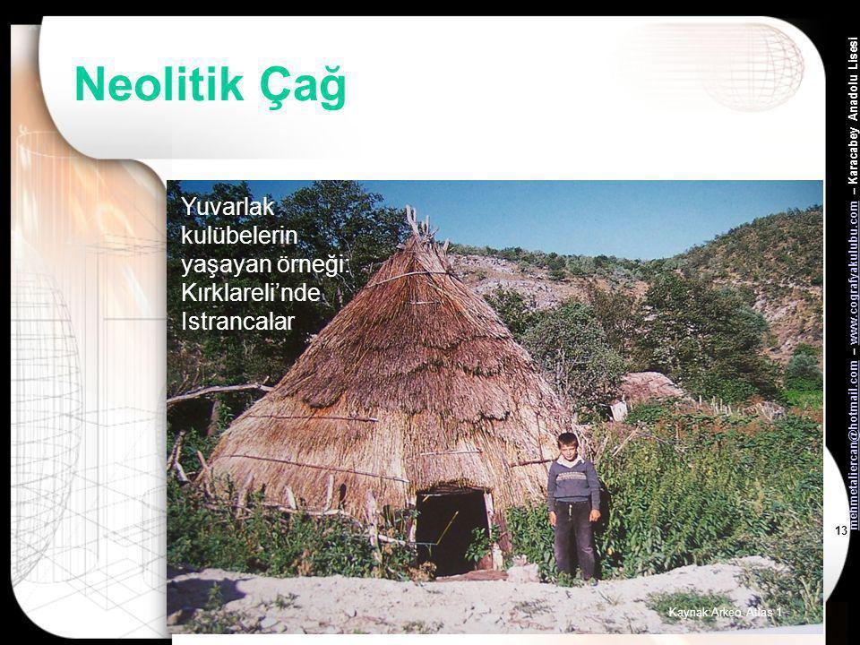 Neolitik Çağ Yuvarlak kulübelerin yaşayan örneği: Kırklareli'nde Istrancalar Kaynak:Arkeo Atlas 1