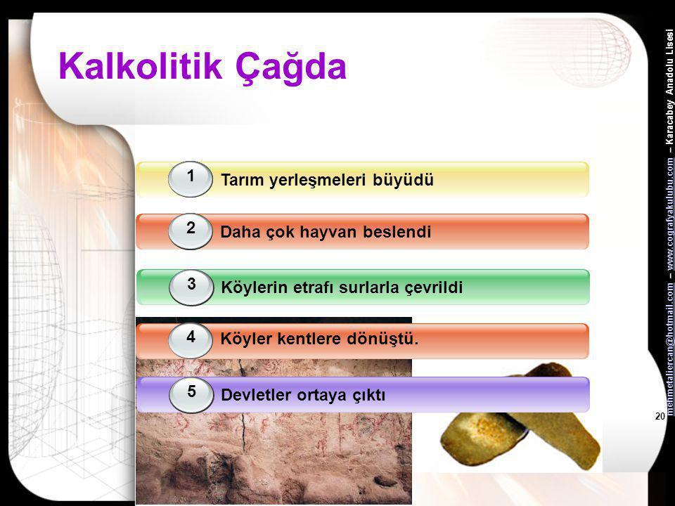Kalkolitik Çağda Tarım yerleşmeleri büyüdü 1 1