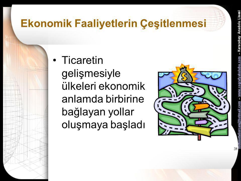 Ekonomik Faaliyetlerin Çeşitlenmesi