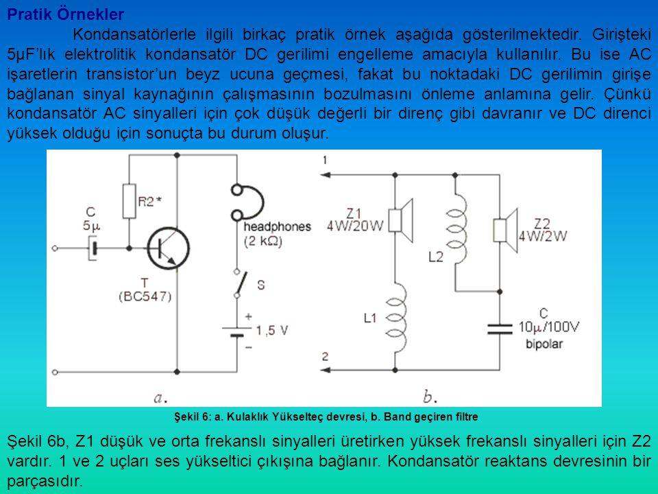 Şekil 6: a. Kulaklık Yükselteç devresi, b. Band geçiren filtre