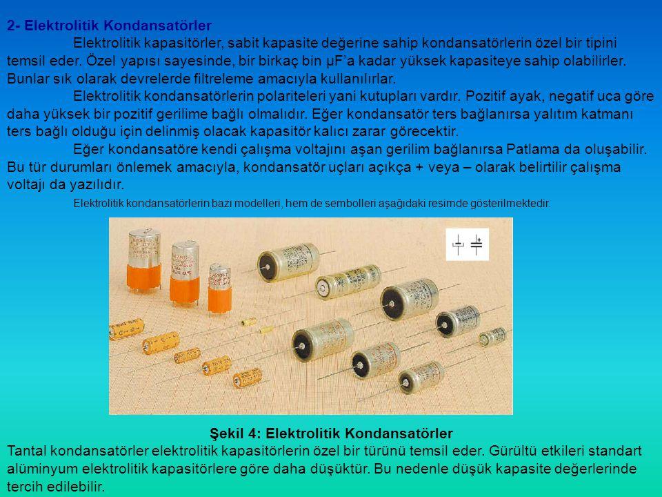 Şekil 4: Elektrolitik Kondansatörler