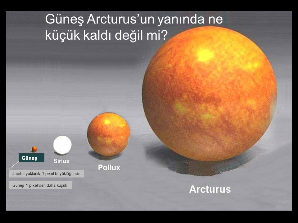 Güneş Arcturus'un yanında ne küçük kaldı değil mi