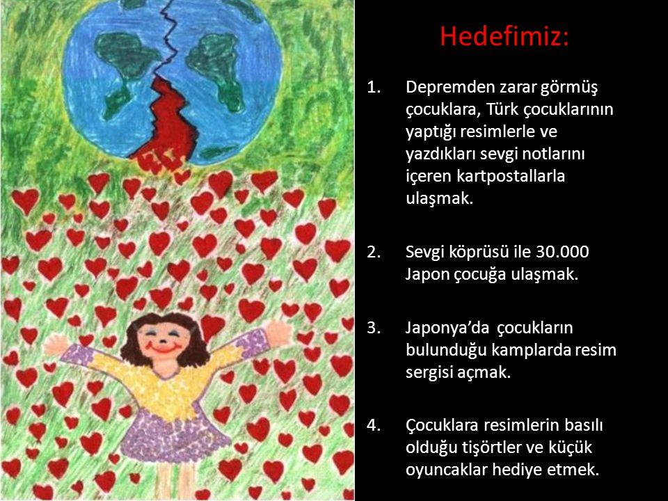 Hedefimiz: Depremden zarar görmüş çocuklara, Türk çocuklarının yaptığı resimlerle ve yazdıkları sevgi notlarını içeren kartpostallarla ulaşmak.