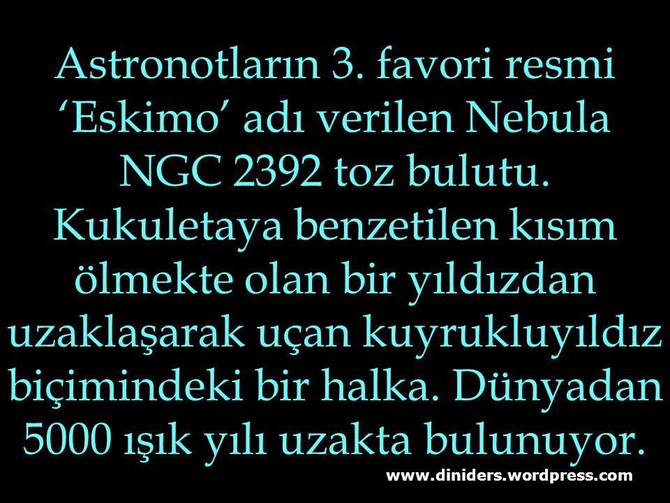 Astronotların 3. favori resmi 'Eskimo' adı verilen Nebula NGC 2392 toz bulutu. Kukuletaya benzetilen kısım ölmekte olan bir yıldızdan uzaklaşarak uçan kuyrukluyıldız biçimindeki bir halka. Dünyadan 5000 ışık yılı uzakta bulunuyor.
