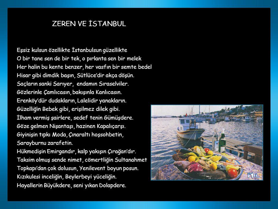 ZEREN VE İSTANBUL Eşsiz kulsun özellikte İstanbulsun güzellikte