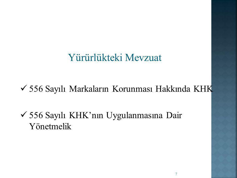 Yürürlükteki Mevzuat 556 Sayılı Markaların Korunması Hakkında KHK