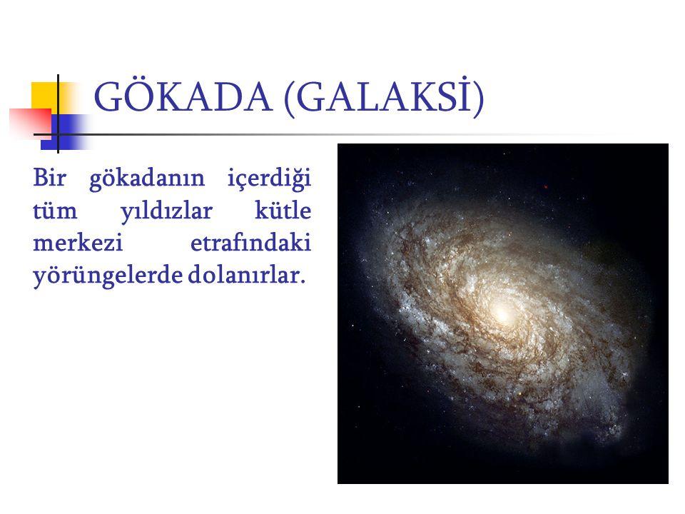 GÖKADA (GALAKSİ) Bir gökadanın içerdiği tüm yıldızlar kütle merkezi etrafındaki yörüngelerde dolanırlar.