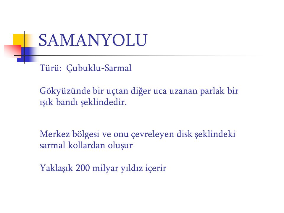 SAMANYOLU Türü: Çubuklu-Sarmal