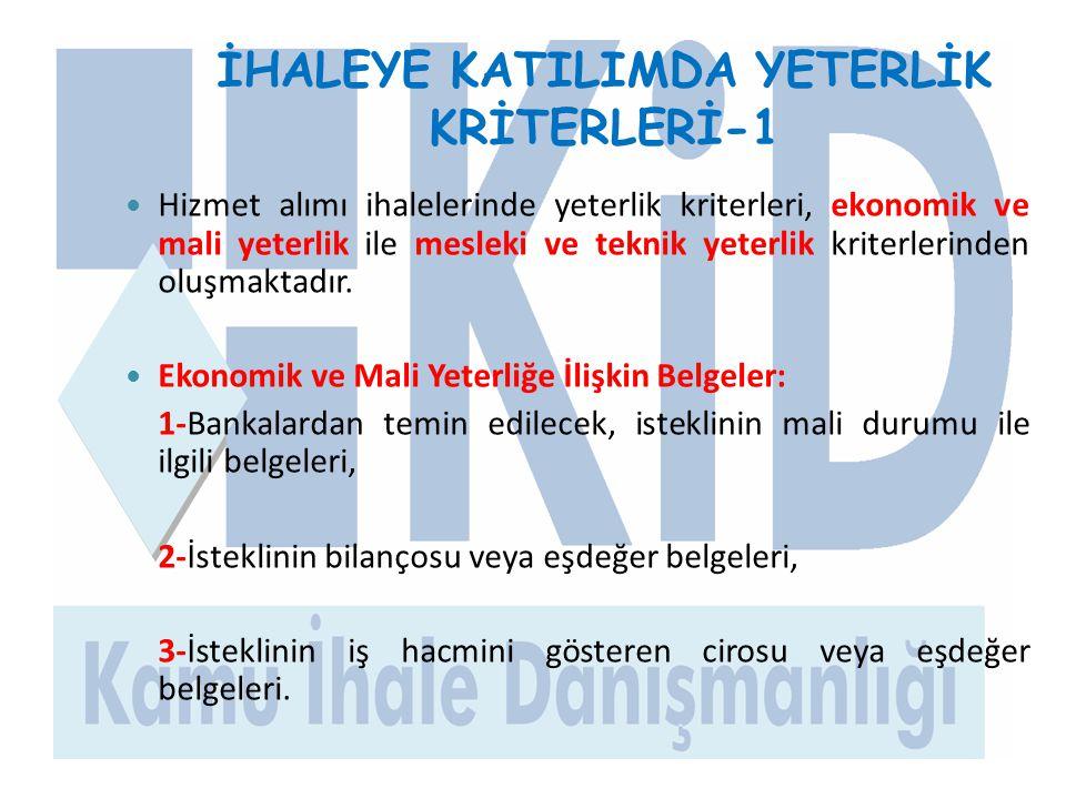 İHALEYE KATILIMDA YETERLİK KRİTERLERİ-1