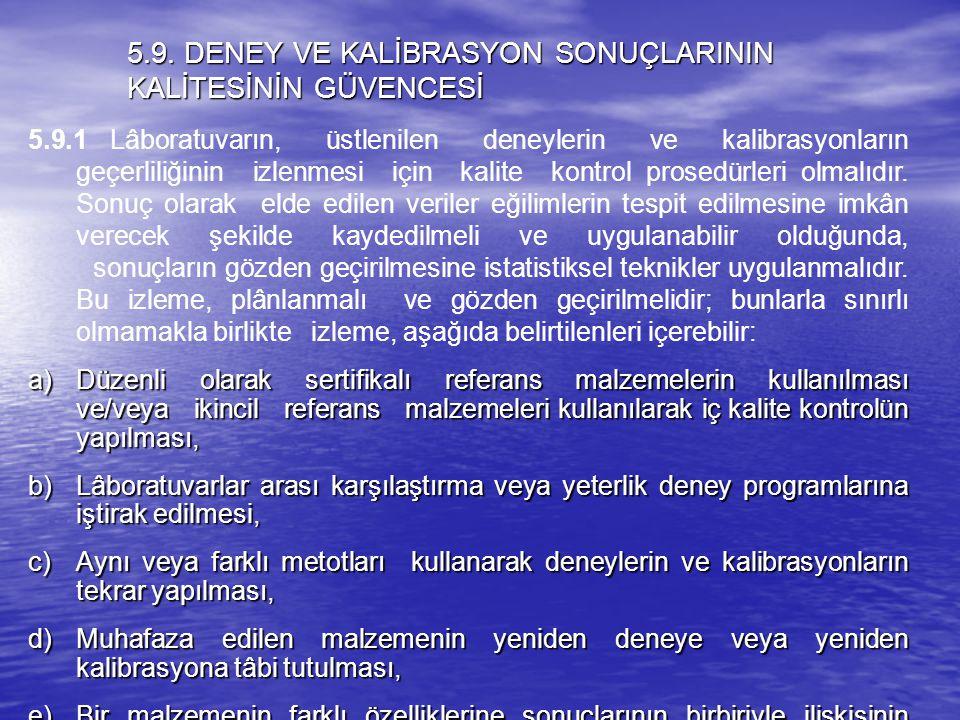 5.9. DENEY VE KALİBRASYON SONUÇLARININ KALİTESİNİN GÜVENCESİ