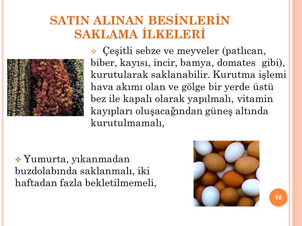 SATIN ALINAN BESİNLERİN SAKLAMA İLKELERİ