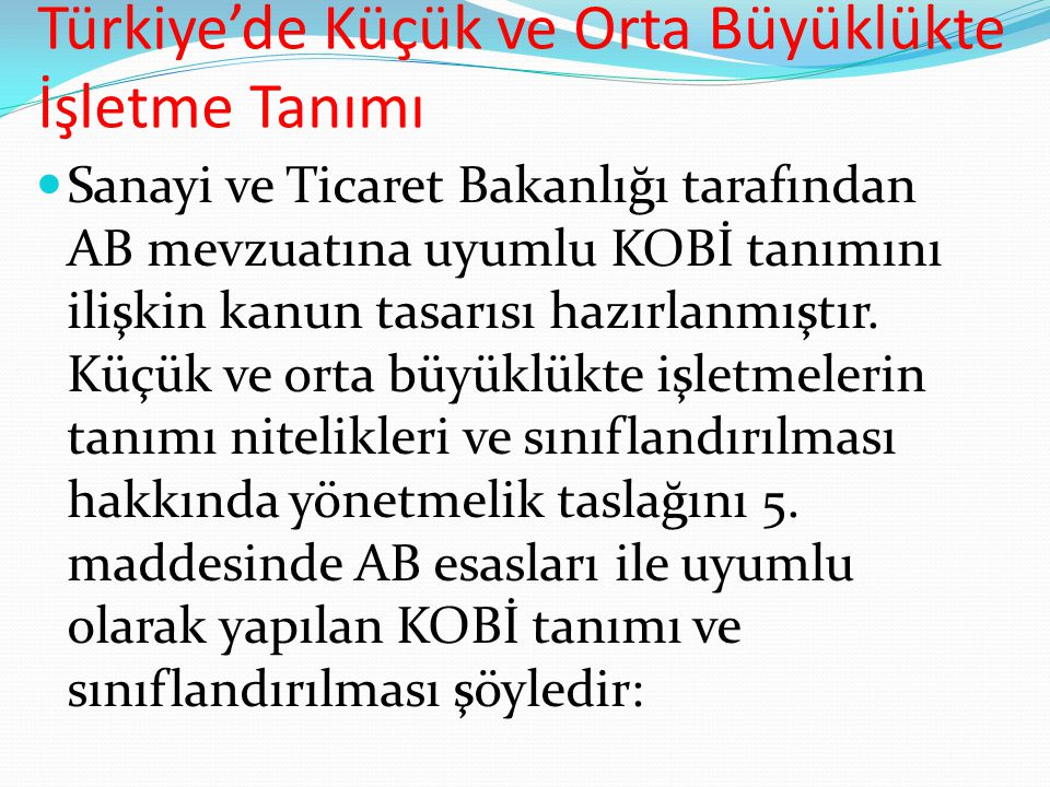 Türkiye'de Küçük ve Orta Büyüklükte İşletme Tanımı