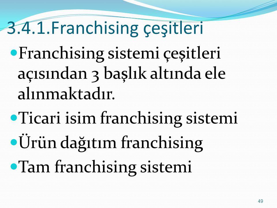 3.4.1.Franchising çeşitleri